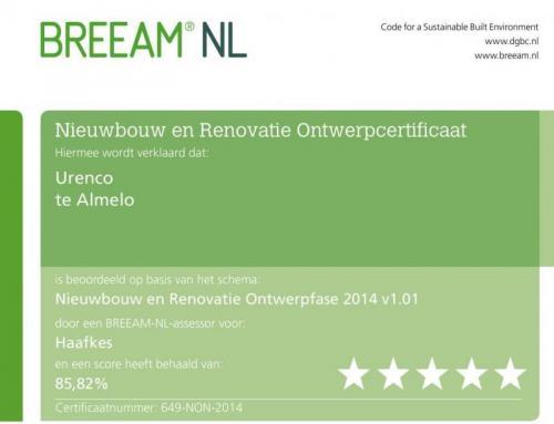 Haafkes haalt 5 sterren BREEAM-NL certificaat in ontwerpfase kantoorgebouw Urenco